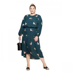NWT Ava & Viv Floral Print Midi Dress 4X Green